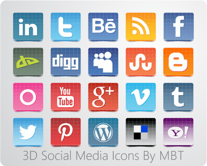 3D SOcial Icon Set By MBT