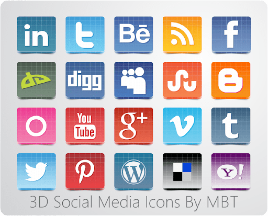 3D SOcial Icon Set By MBT