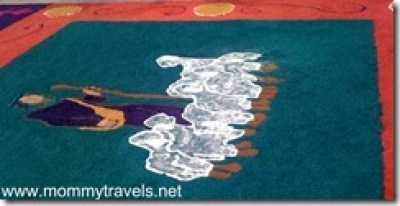 Sand carpet of sheep in Copan Honduras