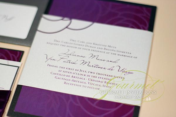 ... Purple And Charcoal Wedding Invitations, Slate Grey And Purple Wedding  Invitation, Dual Language Wedding ...