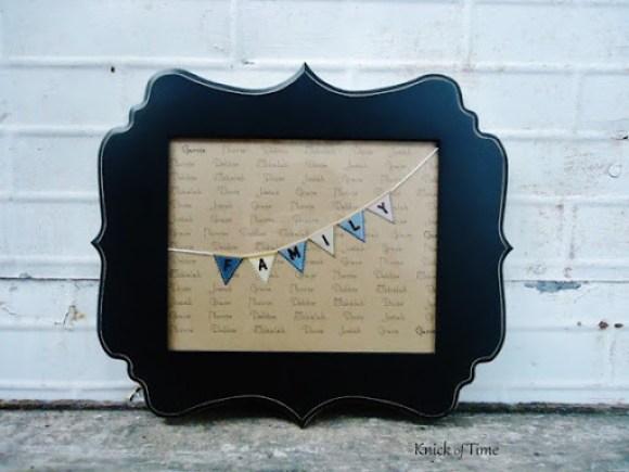 Family Names Framed Print bracket frame