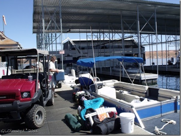 Transfering gear from cart to boat Antelope Marina Page Arizona