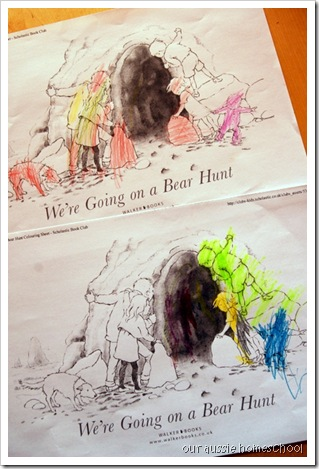 Bear Hunt Colouring Pages
