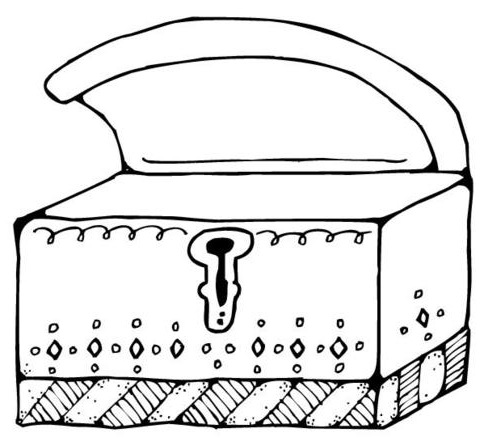 Wooden Treasure Chest Coloring Page Coloring Pages