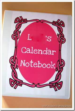 Calendar Notebook ~ Our Aussie Homeschool