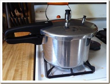 pressure cooker on stove