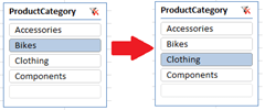 Selecting Bikes and then selecting Clothing in slicer