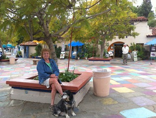 relaxing in the art village at Balboa Park