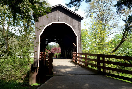 Pass Creek covered bridge in the park at Drain