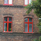 Typical red frame windows.