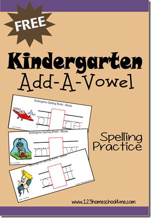 Free Kindergarten Addavowel Spelling Practice Cards  Free Homeschool Deals