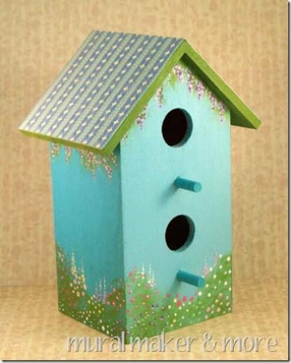 painted flower garden birdhouse