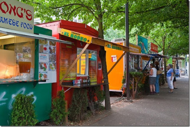 Mobile Food Carts in Downtown Portland, Oregon