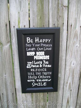 Family Rules cupboard door sign