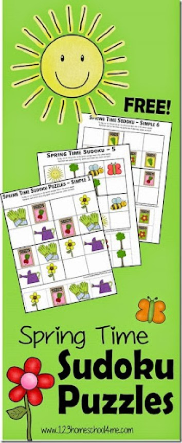 Spring Sudoko Puzzles for Kids - free printable math game for preschool, kindergarten, 1st grade, 2nd grade, and 3rd grade students