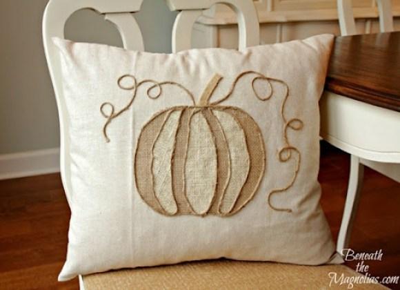 no-sew pumpkin applique pillow