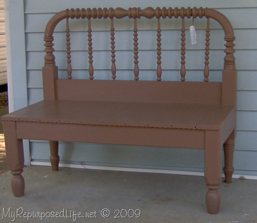 brown headboard bench