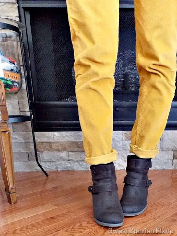 mustard jeans brown booties