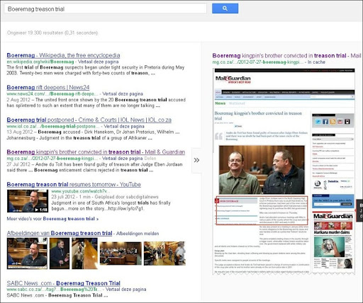 Boeremag treason trial Google hits 19300 Oct 9 2012
