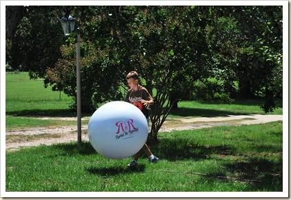 J and his big beach ball