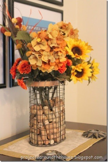 Fall flower arrangement wine corks