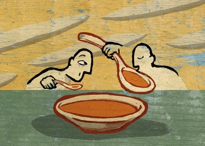 Unequal soup business desk