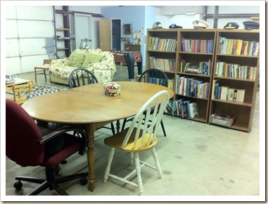 table and bookcases