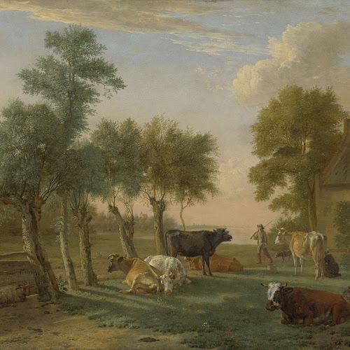 Koeien in de wei bij een boerderij Paulus Potter 1653