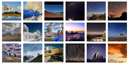 thumbnails for gallery of observatory photos
