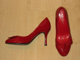 New Look Patent Red Bow Court Shoes