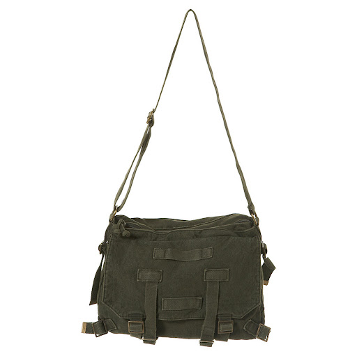 Khaki Utility Army Canvas Shoulder Bag by Topshop