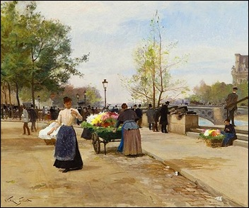 The Flower Sellers by the Pont du Louvre