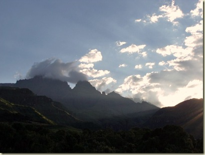 Mountain view from Monks Cowl camp Drakensburg KwaZulu-Natal South Africa