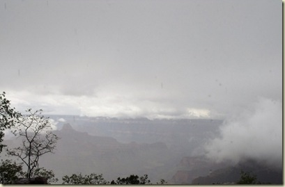 Cloudy view of Grand Canyon from North Rim Arizona