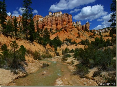 Hoodoos above Mossy Cave trail near Bryce Canyon National Park Utah