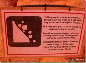 Warning sign at start of Wall Street Navajo Loop trail Bryce Canyon National Park Utah