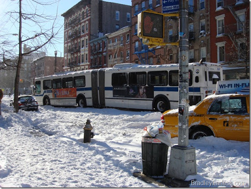 An M14A bus, stuck in the snow on Avenue A.