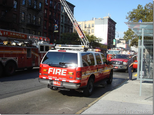 The whole street between Ave A and B was filled with response vehicles.