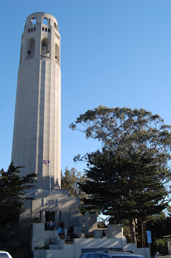 Coit Tower, on a hill in the city.