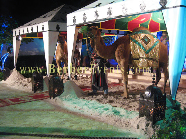 Live Camels at the entrance of a residence for a Moroccan Themed birthday Party in Palm Beach Island