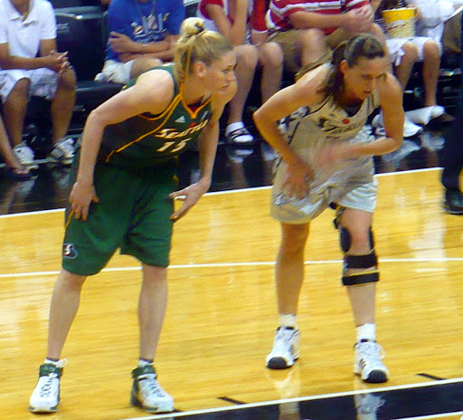 May, 28, 2008, Seattle at San Antonio. Lauren Jackson and Erin Buescher. San Antonio handed Seattle its first loss that season 87-72 for their sixth straight win over the Storm.