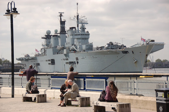 HMS Illustrious at her moorings just north the old Naval College