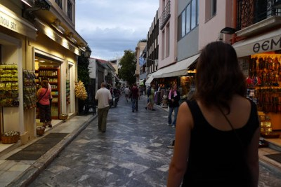 Walking down a great little street near our hostel. Apparently this was touristy but we found 2 euro kebabs, so whatever