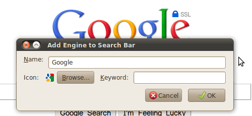 Firefox: Add to Search Bar