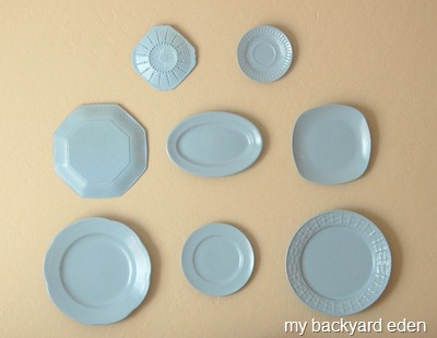 Create a beautiful plate wall with mismatched Goodwill china!