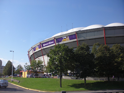 Pulling into the Metrodome!