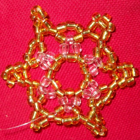 Golden Beaded snowflake ornament