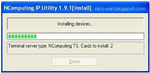 Screenshot install NComputing Ip address utility
