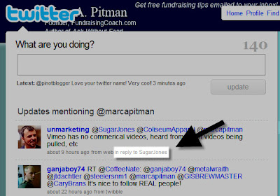 How to find the previous message in Twitter