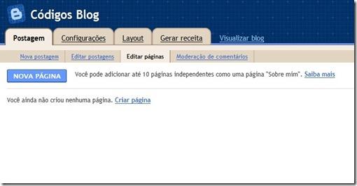 criar paginas no blogger